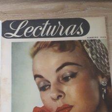 Coleccionismo de Revistas: REVISTA LECTURAS FEBRERO DE 1954 CON REFUERZO CINTA ENCANTO VER FOTOS DESGASTE DEL TIEMPO Y MARCAS P. Lote 197592056