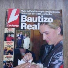 Coleccionismo de Revistas: LECTURAS NÚM. 2.548 DE 02/02/2001 BAUTIZO REAL. TODA LA FAMILIA ARROPÓ A PABLO NICOLÁS SEBASTIÁN. Lote 210775242