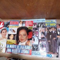 Coleccionismo de Revistas: LOTE 8 REVISTAS CORAZÓN LOLA FLORES BORBON ROCIO Y DAVID AZNAR DIANA LADY DI REYES. Lote 218426521