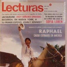 Coleccionismo de Revistas: REVISTA LECTURAS RAPHAEL ROGER MOORE MILI Y PILI SEAN CONNERY RENÉ LEÓN Nº 867 L1. Lote 229149555