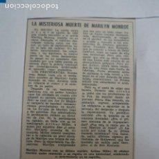 Collectionnisme de Magazines: RECORTE CLIPPING DE MARILYN MONROE REVISTA LECTURAS Nº 910 PAG. 12 L5. Lote 231382365