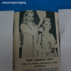Coleccionismo de Revistas: RECORTE CLIPPING DE MISS AMERICA 1970 REVISTA LECTURAS Nº 909 PAG. 41 L5. Lote 231436005