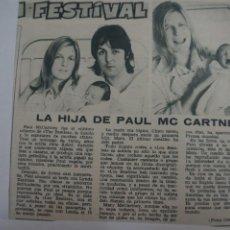 Coleccionismo de Revistas: RECORTE CLIPPING DE EL HIJO DE PAUL MC CARTNEY REVISTA LECTURAS Nº 909 PAG. 44 L5. Lote 231436205