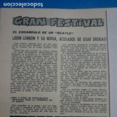 Coleccionismo de Revistas: RECORTE CLIPPING DE JOHN LENNON Y YOKO REVISTA LECTURAS Nº 863 PAG. 88 L14. Lote 235057750