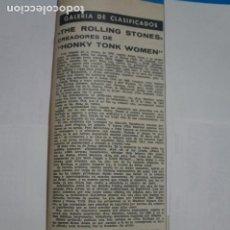 Coleccionismo de Revistas: RECORTE CLIPPING DE THE ROLLING STONES REVISTA LECTURAS Nº 919 PAG. 89 L14. Lote 235061835