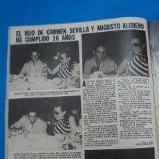 Coleccionismo de Revistas: RECORTE CLIPPING DE CARMEN SEVILLA AUGUSTO ALGUERO REVISTA LECTURAS Nº 1474 PAG. 44 L16. Lote 235723295