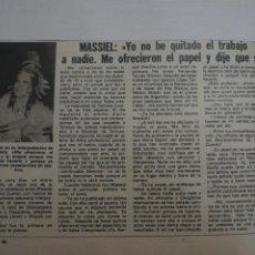 Coleccionismo de Revistas: RECORTE CLIPPING DE MASSIEL REVISTA LECTURAS Nº 1474 PAG. 79 L16. Lote 235727155