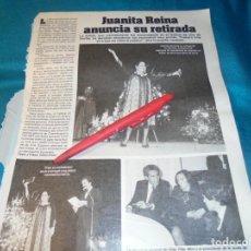 Coleccionismo de Revistas: RECORTE : JUANITA REINA, SE RETIRA. LECTURAS, NVMBRE 1983(#). Lote 243035645