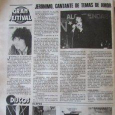 Coleccionismo de Revistas: RECORTE REVISTA LECTURAS N.º 1457 1980 CANTANTE JERONIMO. Lote 243848490