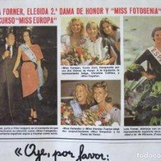 Collectionnisme de Magazines: RECORTE REVISTA LECTURAS N.º 1457 1980 LOLA FORNER. MISS EUROPA. Lote 243848705