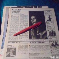 Coleccionismo de Revistas: RECORTE : GRACE JONES. LECTURAS, DCMBRE 1989(#). Lote 246294530