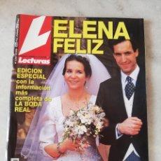 Coleccionismo de Revistas: REVISTA LECTURAS. ELENA FELIZ. TODA LA INFORMACIÓN DE LA BODA REAL. MARZO 1995. Lote 246484335
