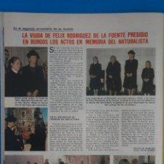 Coleccionismo de Revistas: RECORTE CLIPPING DE VIUDA DE FELIX RODRIGUEZ DE LA FUENTE REVISTA LECTURAS Nº 1562 PAG. 74 L42. Lote 256019030