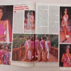 Collectionnisme de Magazines: RECORTE CLIPPING DE RAQUEL REVUELTA MISS ESPAÑA 1989 REVISTA LECTURAS Nº 1959 PAG. 62 Y 63 L43. Lote 260642690