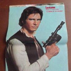 Coleccionismo de Revistas: POSTER HAN SOLO - LA GUERRA DE LAS GALAXIAS - INCLUSIVE REVISTA LECTURAS DE 27/1/1978 , SIN ARRANCAR. Lote 275024808