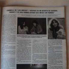 Coleccionismo de Revistas: RECORTE CLIPPING DE CARMELA DE LAS GRECAS REVISTA LECTURAS Nº 1464 PAG. 77 L52. Lote 276998513