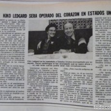 Coleccionismo de Revistas: RECORTE CLIPPING DE KIKO LEDGARD DEL UN DOS TRES LECTURAS Nº 1460 PAG. 90 L53. Lote 277702228
