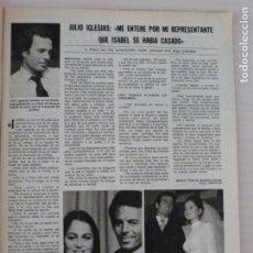 Coleccionismo de Revistas: RECORTE CLIPPING DE JULIO IGLESIAS REVISTA LECTURAS Nº 1460 PAG. 35 L53. Lote 277703778