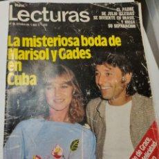 Coleccionismo de Revistas: REVISTA LECTURAS N°1592 DE 1982 LA MISTERIOSA BODA DE MARISOL Y GADES EN CUBA- DIFÍCIL. Lote 288085338