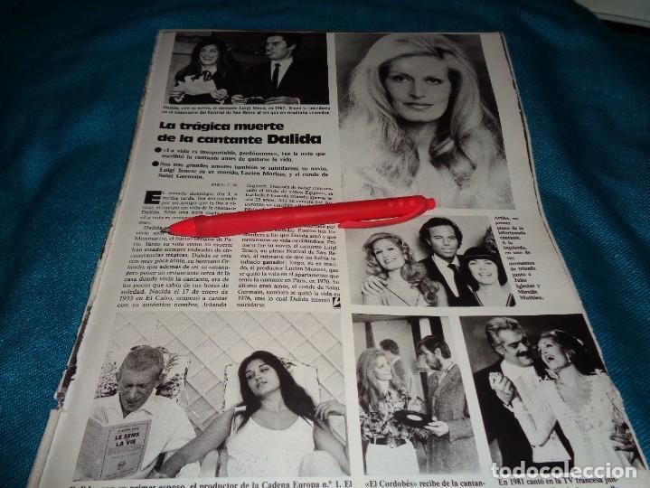 RECORTE : LA TRAGICA MUERTE DE LA CANTANTE DALIDA. LECTURAS, MAYO 1987(#) (Coleccionismo - Revistas y Periódicos Modernos (a partir de 1.940) - Revista Lecturas)