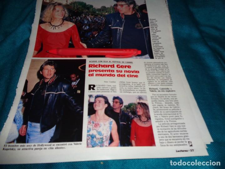 RECORTE : RICHARD GERE, CON SU NOVIA EN CANNES. LECTURAS, JUNIO 1988 (#) (Coleccionismo - Revistas y Periódicos Modernos (a partir de 1.940) - Revista Lecturas)