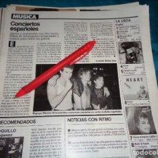 Coleccionismo de Revistas: RECORTE : EL GRUPO MECANO, NUMEROSOS CONCIERTOS. LECTURAS, AGTO 1988(#). Lote 295025553