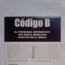 Coleccionismo de Revista Más Allá: CD ROM - CÓDIGO B - DESCUBRA MENSAJES OCULTOS - MÁS ALLÁ (2003) / BIBLIA /. Lote 182273061