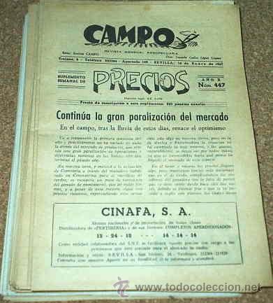 CAMPO - REVISTA AGROPECUARIA - SUPL.SEMANAL DE PRECIOS - LOTE DE 44 NOS. DE 1967-LEER TODO (Coleccionismo - Revistas y Periódicos Modernos (a partir de 1.940) - Revista Muy Interesante)