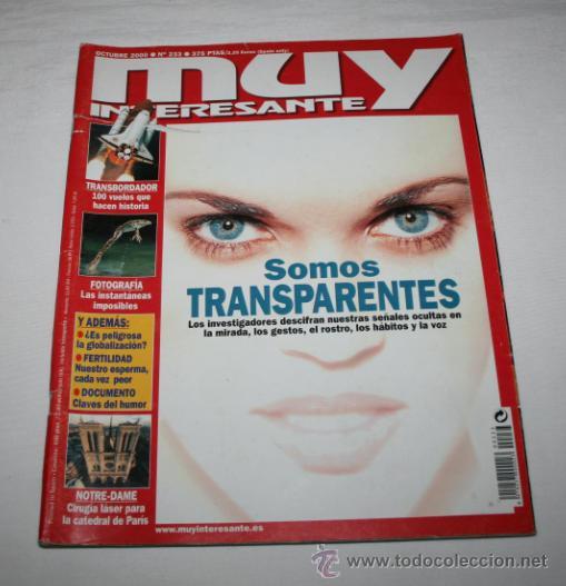 REVISTA MUY INTERESANTE Nº 233 SOMOS TRANSPARENTES (Coleccionismo - Revistas y Periódicos Modernos (a partir de 1.940) - Revista Muy Interesante)