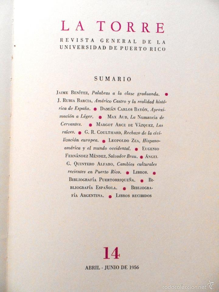 Coleccionismo de Revista Muy Interesante: LA TORRE Nº 14 - REVISTA GENERAL DE LA UNIVERSIDAD DE PUERTO RICO - AÑO 1956 - MAX AUB - Foto 3 - 27170673