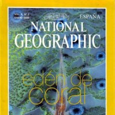 Coleccionismo de National Geographic: REVISTA NATIONAL GEOGRAPHIC Nº 1,ENERO 1999,CORAL,LAWRENCE ARABIA,ANACONDA,CUERVOS,POPOCATEPETL. Lote 38126355