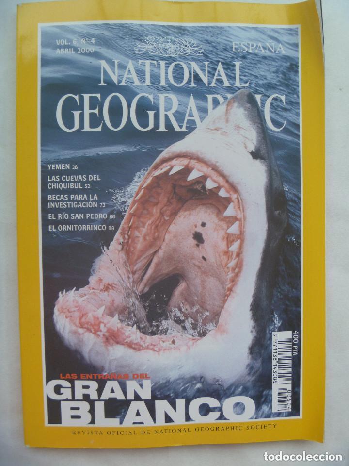 REVISTA NATIONAL GEOGRAPHIC, N º 4, 2000: TIBURON BLANCO, YEMEN, CUEVAS CHIQUIBUL, ETC.. (Coleccionismo - Revistas y Periódicos Modernos (a partir de 1.940) - Revista National Geographic)