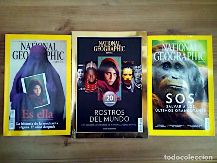 LOTE 3 REVISTAS NATIONAL GEOGRAPHIC, ROSTROS DEL MUNDO 20 ANIVERSARIO, ES ELLA, SOS. (Coleccionismo - Revistas y Periódicos Modernos (a partir de 1.940) - Revista National Geographic)