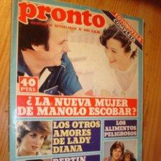 Coleccionismo de Revista Pronto: REVISTA - PRONTO Nº 482 - 3.8.1981. EN PORTADA: MANOLO ESCOBAR, LADY DY, BILLIE JOE Y SU MONO.. Lote 76791201