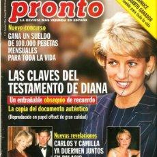 Coleccionismo de Revista Pronto: PRONTO Nº1349 LAS CLAVES DEL TESTAMENTO DE DIANA. Lote 25635553