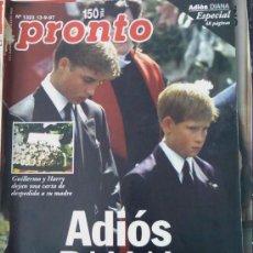 Coleccionismo de Revista Pronto: PRONTO Nº 1323 ADIÓS DIANA, IMPRESIONANTE FUNERAL, 48 PÁGINAS.. Lote 25497359