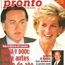 Coleccionismo de Revista Pronto: PRONTO Nº 1320 DIANA Y DODI BODA , UN TORO CORNEA A EL CORDOBÉS. Lote 25853048