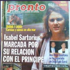 Coleccionismo de Revista Pronto: PRONTO 1322, 6-9-1997- ISABEL SARTORIUS Y EL PRÍNCIPE. Lote 22893594