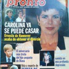 Coleccionismo de Revista Pronto: PRONTO 1324, 20-9-1997- CAROLINA YA SE PUEDE CASAR, ADIOS A TERESA DE CALCUTA. Lote 26162789