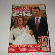 Coleccionismo de Revista Pronto: PRONTO / BAUTIZO DE LA INFANTA LEONOR - SUPLEMENTO ESPECIAL CONTIENE 20 FOTOS DEL EVENTO. Lote 207344672