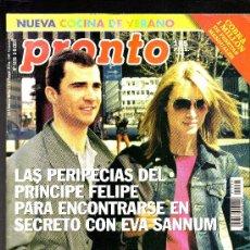 Coleccionismo de Revista Pronto: REVISTA PRONTO Nº 1518· 06-09-2001 · EN PORTADA: EL PRÍNCIPE FELIPE Y EVA SANNUM - 108 PÁGINAS. Lote 27475448