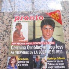 Coleccionismo de Revista Pronto: REVISTA PRONTO, ALUSION A FRAN RIVERA, EN PORTADA.. Lote 28159746