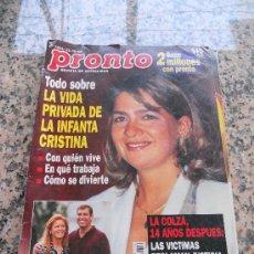 Coleccionismo de Revista Pronto: REVISTA PRONTO, EN PORTADA LA INFANTA CRISTINA. Lote 28233380