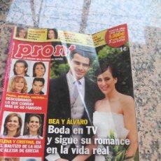 Coleccionismo de Revista Pronto: REVISTA PRONTO, EN PORTADA LA BODA DE BEA Y ALVARO DE TV.. Lote 28233393
