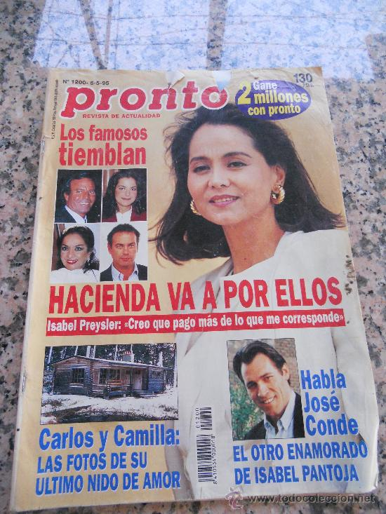 REVISTA PRONTO, EN PORTADA ISABEL PREYSLER (Papel - Revistas y Periódicos Modernos (a partir de 1.940) - Revista Pronto)