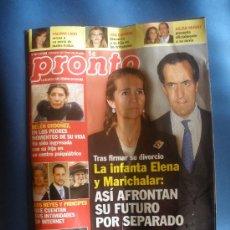 Coleccionismo de Revista Pronto: REVISTA PRONTO,AÑO 2009.LA INFANTA ELENA Y MARICHALAR.. Lote 30649983