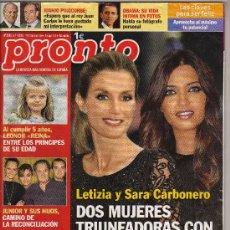Coleccionismo de Revista Pronto: REVISTA PRONTO Nº 2009 - 6-11-2010 - EN PORTADA: PRINCESA LETIZIA Y SARA CARBONERO - 96 PÁGINAS -. Lote 31313135