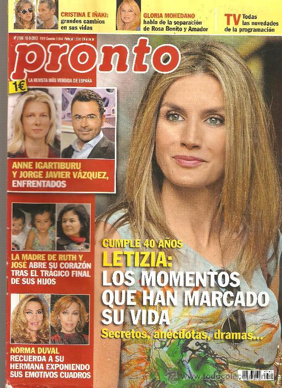 REVISTA PRONTO Nº 2106 - 15-09-12 (Papel - Revistas y Periódicos Modernos (a partir de 1.940) - Revista Pronto)