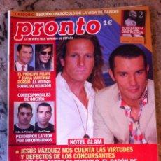Coleccionismo de Revista Pronto: REVISTA PRONTO Nº 1615 19/04/2003 . HOTEL GLAM . PRINCIPE FELIPE . JOSE COUTO . JULIO A. PARRADO. Lote 40591835