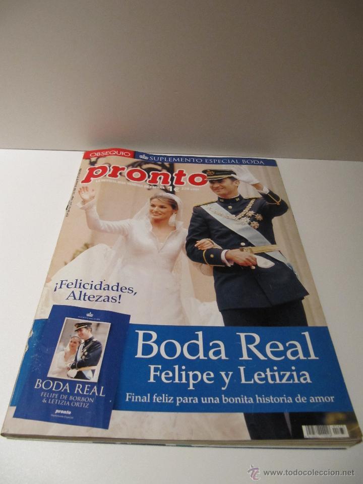 Coleccionismo de Revista Pronto: LOTE REVISTA PRONTO Nº1673 BODA REAL FELIPE Y LETIZIA, ALBUM 29 FOTOS, SUPLEMENTO COMPROMISO OFICIAL - Foto 2 - 41553966